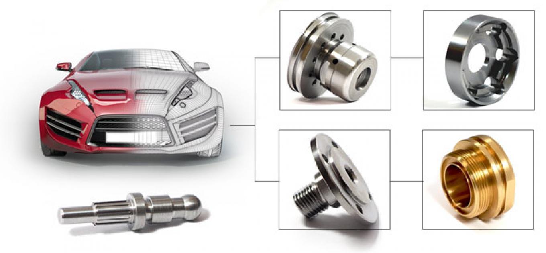 ensemble pièces automobile usinage